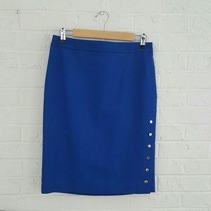 Cobalt blue pencil skirt w/ side snaps